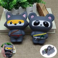 juguetes grises al por mayor-Squishy 13 cm Ninja Panda Fox Rosa Gris el animal de simulación PU Lento rebote Jumbo kawaii colgante Staps Charm descompresión Squishies juguetes