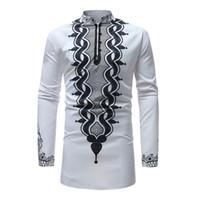traditioneller kleidermann großhandel-Mens African Dashiki Kleid Hemd 2018 Marke New Traditional Dashiki Maxi Mann Shirt Männer Slim Fit Langarm Shirts Chemise Homme