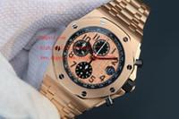 paslanmaz çelik kronograf saat tedarikçileri toptan satış-Fabrika Tedarikçisi Lüks AAA Erkek kol saatleri 42mm Kuvars Chronograph 18 k Pembe Altın Paslanmaz Çelik Erkek erkek Izle Saatler