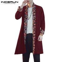 chinesische blumenjacke großhandel-Mode 2019 INCERUN Herbst Strickjacke Männer Dünne Mantel Langarm Öffnen Stich Chinesischen Stil Jacke Loose Fit Floral Outwear Hombre