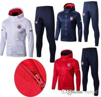 Wholesale Top quality MULLER LEWANDOWSKI white red blue soccer tracksuits training suit ROBBEN ALABA JAMES VIDAL football Hooded kit Free shippi