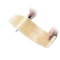 grampo de extensão de cabelo loiro ins venda por atacado-Clipes Em 100% Extensões Do Cabelo Humano 100g Máquina Feita Remy Clipe Em Extensões Do Cabelo Humano 100% Cabelo Humano # 613 luz Cor Loira Clipe Ins