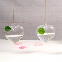 kalp şekli pot toptan satış-Asılı Temizle Kalp Şekli Saksı Topraksız Isıya Dayanıklı Vazo Şeffaf Cam Ev Dekor Düğün Saksı 11 8zc jj
