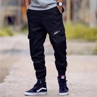 jeans de carga do exército venda por atacado-High Street Moda dos homens Calça Jeans Calça Casual Jogger Big Bolso Carga Calças Dos Homens Da Marca Clássico Hip Hop Exército Tamanho Grande 28-40