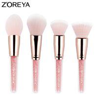 Wholesale brush zoreya - Zoreya Brand 4pcs set Patent make up Blush brushes with pink color foundation and countour makeup brush set for Cosmetic Tools