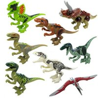 Wholesale wholesale dinosaur toys - 8pcs lot Dinosaur Model Toys Jurassic Dinosaur Figures Model Bricks Mini Figures Building Blocks Kids Educational Toys Novelty Items AAA298