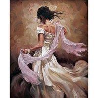art danseurs de toile de peinture à l'huile achat en gros de-Femme en robe blanche Figure abstraite oeuvre Danseurs peinture à l'huile à la main sur toile art moderne pour chambre