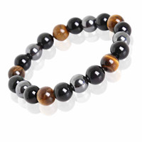 Wholesale tiger eyes stones - Tiger Eye & Hematite & Black Obsidian Stone Bead Bracelet Vintage Charm Round Chain Beads Bracelets Jewelry For Women