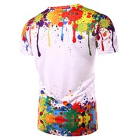 Wholesale polka dot shorts men online – Print Tops Splashed Paint Tops Summer T Shirt Men Short Sleeve Novelty Printed d T Shirts Personality Round Neck Tees Zootop Bear