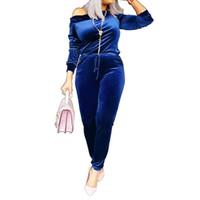 terciopelo largo de una pieza al por mayor-Otoño azul de terciopelo de manga larga mono mujeres sexy cuello irregular mamelucos elegante bodycon de una pieza traje casual overol