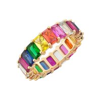 Wholesale wedding rings sets online - Rainbow cz eternity band ring for women engagement band with multi color baguette cubic zirconia Gold plated luxury gorgeous women jewelry