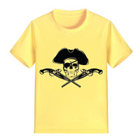 Wholesale Cm Gun - NEW ARRIVAL Children Cartoon T Shirt Pirate with Gun Printed Boy Kid Clothes Short Sleeve Girl Tee Shirt Kid Summer U2395
