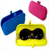 Wholesale Silicone Eyeglasses - 2018 New Candy Colors Waterproof Silicone Glasses Bag Soft Eyeglasses Pouch Sunglasses Bag Multi-Purpose Silicone Wallet Rubber Coin Purse