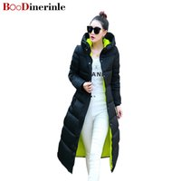 Wholesale Woman Winter Coat Dark Blue - BOoDinerinle Women Jacket Winter 2017 New Hooded Coat Female Long Slim Thin Plus Size Knees Padded Jacket Thicker Coats MY003