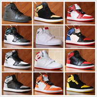 Wholesale Top High Cut Basketball Shoes - 2018 New Top 1 OG High Banned black Red White Men Basketball Shoes Women Sports Shoe Athletic Trainers Mens Sneakers US 5-13