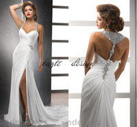 Wholesale thigh slimming wraps - 2018 Surplice Bodice beach Wedding Dresses Side Split Spaghetti Crystal Sleveless Backless Sweep Train Slim Draped White Bridal Gowns