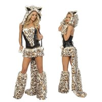 Wholesale sexy leopard halloween costumes for sale - Group buy Sexy Carnival Cosplay Leopard Costume Halloween Nightclub Winter Cat Theme Costume Faux Fur Christmas Cartoon Cheetah Party Dress