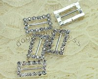 Wholesale Rectangle Wedding Invitations - Wholesale- 20pcs rectangle Diamond Rhinestone Ribbon Sliders Buckles Gift Wedding decoration,wedding invitations gift ,weddong accessories