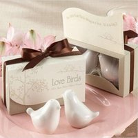 Wholesale love birds salt - 20pcs 10 boxes Elegant Wedding Favors Love Birds Ceramic Salt and Pepper Shaker Party Favor Gifts Supplies Free Shipping