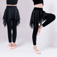 kinder schwarze leggings großhandel-Mädchen-Kinderschwarz-Ballett-Tanz keucht Kinderbaumwollhosen mit Chiffon- Rock-Gymnastik-Tanz-Trainings-Gamaschen