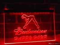 Wholesale happy hour signs - LA627r- Budweiser Sexy Dancer Happy Hour Bar LED Neon Sign