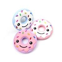 ingrosso giocattolo di legno-Silicone Baby gomma molari perline di legno masticabili bambini placare donut ragazzo ragazza giocattoli denti molari strumenti 7 5 gg gg