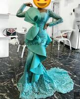 afrikanische jade großhandel-Jade Blue Mermaid Prom Abendkleider mit Langarm 2018 Full Rüschen Square Lace Perlen Trompete African Nigerian Evening Wear Gown
