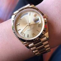 ingrosso orologi in oro genoa per gli uomini-Luxury orologio da uomo in oro 18 carati giorno-data Sapphire Cystal Geneva Orologi automatici movimento meccanico orologio da polso maschile Relo Reloj