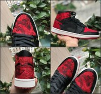 Wholesale chinese fabrics dragon - 2018 New Arrival 1 OG Fashion Dragon embroidery Men Basketball Shoes 1S Bred Royal Red Blue Traditional Chinese Silk Mens Sport Sneakers