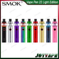 велюровые перья оптовых-SMOK Vape Pen 22 Kit Light Edition 4 мл 1650 мАч Встроенный аккумулятор AIO Kit со светодиодной основой бака Сетка / Полоска Ядро 100% Оригинал 9293