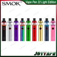 kits led al por mayor-SMOK Vape Pen 22 Kit Light Edition 4 ml 1650 mah Batería incorporada Kit AIO con base de malla / tira de tanque de LED Base 100% original 9293