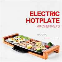 Wholesale Korean Porcelain - 2100W Korean Barbecue Non-Smokeless Ceramic Grill Non-stick House Electric Barbecue Tools 51* 26.5CM Baking pan 220V 50 Hz