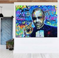 Wholesale graffiti art canvas prints resale online - Alec Monopoly High Quality Handpainted HD Print Home Decor Abstract Graffiti Pop Art oil painting The Godfather Wall Art On Canvas g73