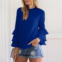 Wholesale square o - ZANZEA Women 6 Colors Elegant Blouses Shirts 2018 Ladies O Neck Flounce Long Sleeve Blusas Tops Casual Loose Pullover Plus Size