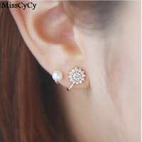 Wholesale gold snowflake stud earrings - MissCyCy 2016 New Fashion Simulated Pearl Jewelry Snowflake Sweet Gold Silver Color Stud Earrings For Women