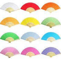 Wholesale paper chinese folding fans - 10pcs Chinese Folding Hand Held Bamboo Paper Fans Pocket Fan Background Decorations Wedding Birthday Baby Shower Party Decor