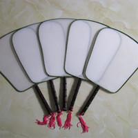 Wholesale wooden fan handles - DIY Drawing Graffiti Silk Fans Wooden Handle Blank Round Fan Party Supplies White New Arrive 1 6xx Y