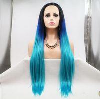ingrosso lunghi capelli blu-Parrucche frontali anteriori in pizzo imprevedibili Parrucche sintetiche per capelli sintetiche ad alta temperatura colore blu verde scuro Ombre lunghe e seriche