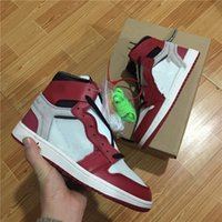 Wholesale leather powder - FASHOION with Box white top Quality New 1 Chicago red men and women Basketball Shoes Powder Blue UNC Athletic Sport Sneakers.