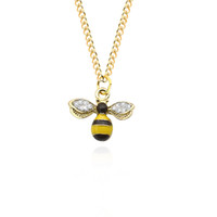 Wholesale gold bee necklace - Trendy Golden Bee Pendant Necklace Rhinestone Animal Wings Necklaces For Women Jewelry Collares