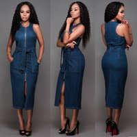 Wholesale bodycon sleeveless denim dress - Women Lady Girls Sexy Fashion Sleeveless Denim Slim Package Hip Blue Dress Jumpsuits Rompers Clothes 3759