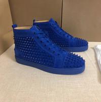 botines de pinchos con tachuelas al por mayor-botas unisex inferior rojo de la zapatilla de deporte con tachuelas Diseñador Spikes Pisos zapatos de lujo del tobillo de los zapatos ocasionales de alta Zapatillas de cuero real con la caja