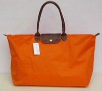 сумка оранжевого цвета оптовых-Горячая распродажа мода женщины роскошные дорожная сумка оранжевый фуксия известный бренд нейлоновые сумки одной молнии крест узор сцепления девушка
