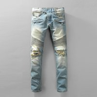 Wholesale Robin Jeans For Men European American Style Skinny Slim Denim Trousers Patchwork Hole Rock Revival Jeans Designer Mens Robins Pants