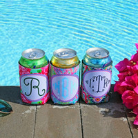 cerveza rosa al por mayor-Lily Neoprene Can Holder Rose Útil Refrigerador de botella regular Coral Can Cooler Cerveza Copa Manga Impresión colorida