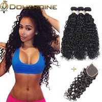 Wholesale 28 water wave hair extension - Brazilian Water Wave virgin Hair Bundles With Lace closure Brazilian Human hair Extensions Brazilian Virgin Human Hair Products Wholesale