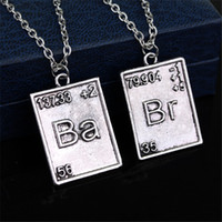 плохая подвеска оптовых-2018 Новый Breaking Bad Necklace Br Ba Walter White Heisenberg Chemical Symbol Pendant Necklace Brothers Couple Women Gift