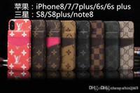 tarjetero de carcasa dura iphone al por mayor-Para iPhone X 7 6 6S 7plus 8 8plus Estuche para teléfono con impresión de cuero con soporte de tarjeta cubierta trasera dura para Samsung S8 S8plus note8