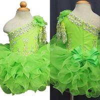 vestido de bola verde para crianças venda por atacado-Meninas verdes Pageant Vestidos Para Meninas 2019 Criança Crianças Ball Gown Glitz Vestido Da Menina de Flor Casamentos Frisados Babados Custom made