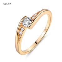altın oniks halkalar kadınlar toptan satış-Kadınlar için nişan GULICX Moda Parmak Düğün Altın renk Yuvarlak Beyaz Kristal Kübik Zirkon CZ Nişan Yüzüğü Takı R008